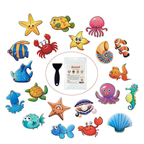"""Secopad Non Slip Bathtub Stickers, 20 Large Sea Adhesive Kids Anti Slip Decal Threads for Shower and Bath Tub with Premium Scraper, Each Design About 4.5"""" x 3.5"""""""