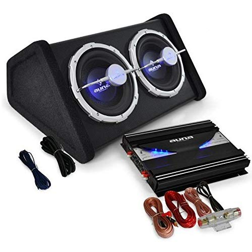 auna Auto HiFi Boxenset Autoboxen Set Black Line 140 25cm Twin-Subwoofer, satte 2800W Endstufen Power