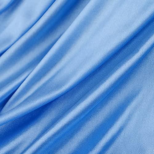 QDTD 160 cm De Ancho Tela De Raso Tela SatéN Vestidos Y Manualidades 1m Se Vende por Metros para Costura ElaboracióN De Ropa Ideal para Elaborar Vestidos para Bodas Graduaciones Raso(Color:Lago Azul)