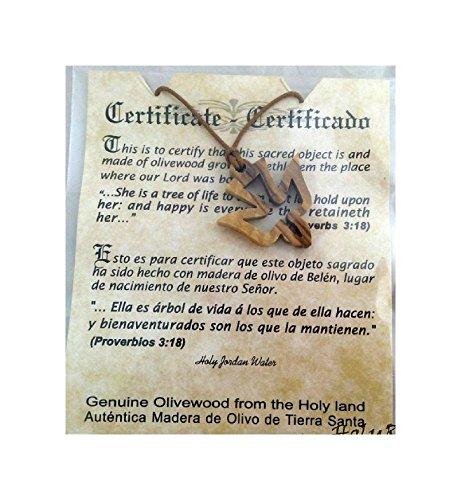 Olive Wood Pendant - Dove of Peace Design - HJW Holyland Bethlehem Christian