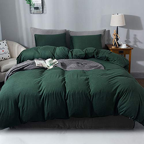 Sincethen Jersey Knit Cotton Duvet Cover Set, Dark Green...