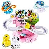 Dunmo Animal deslizante coche conjunto plástico pistas rápidas juguetes crianza interactiva juguetes regalo para niños niños