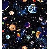 Quiltstoff mit Sonnensystem, 100 % Baumwolle, Weltraum,