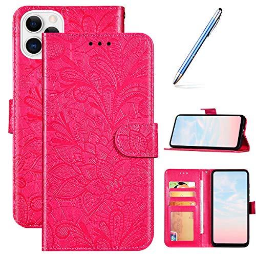 Compatible avec Coque iPhone 11 Pro Max Flip Case,Mandala Fleur Motif Housse en Cuir Pochette Portefeuille Étui à Rabat Clapet Fermeture Magnétique Porte Carte Fonction Support Coque,Rose