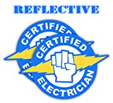 Pair | Reflective Certified Electrician Hard Hat Decal | Helmet Sticker | Lunch Bob Label | Tool Box Decal | (Blue and Yellow)
