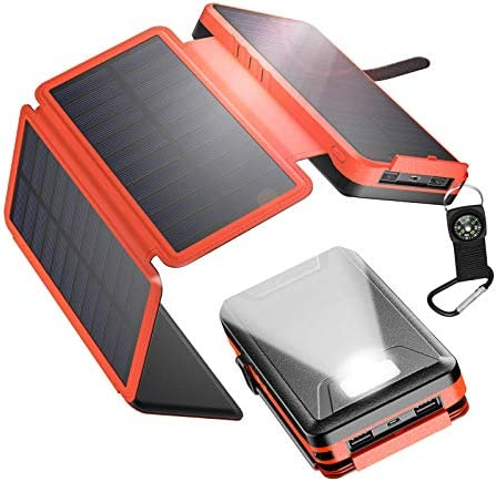 IEsafy Solar Charger 26800mAh, Outdoor Solar Power Bank with 4 Foldable Solar Panels and 2 High-Speed Charging Ports for Smartphones, Tablets, Samsung, iPhone with Waterproof LED Flashlight(Black)