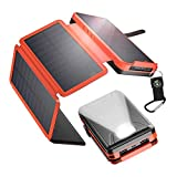 IEsafy Solar Charger 26800mAh, Outdoor Solar Power Bank with 4 Foldable Solar Panels and 2 High-Speed Charging Ports for...