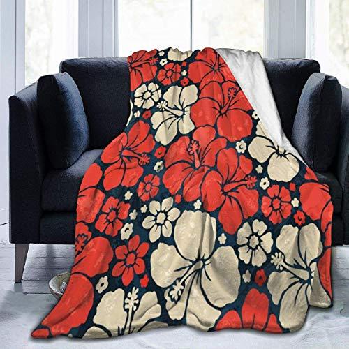 Manta de Tiro para Mujer de Flores Rojas Hawaianas, Manta de Felpa, Manta de Felpa, para sofá Cama, sofá