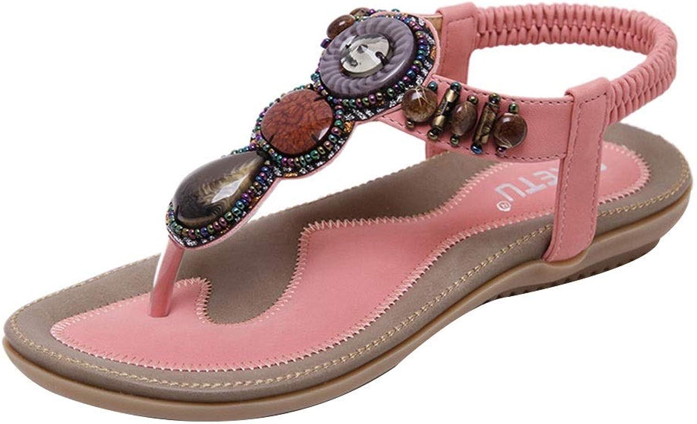 ADLISA Women Bohemian Beaded Casual Beach Flat T-Strap Sandals Flip Flops No-Slip shoes