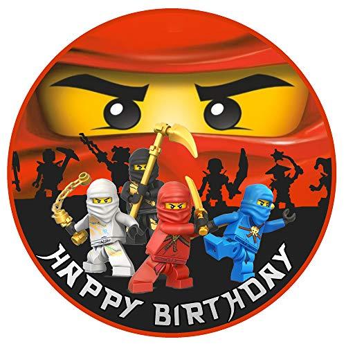 Tortenaufleger Geburtstag Ninjago Motiv Essbare Tortendeko Tortenbild Kuchendekoration Fondant Rund Ø20CM