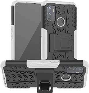 OPPO A53 Case, Ikwcase Heavy Duty Armor Tough Hybrid Shockproof Dual Layer Kickstand Protective Case Cover for OPPO A53 White