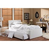 Baxton Studio Cosmo Modern and Contemporary Black Faux Leather Trundle Bed, Twin, White