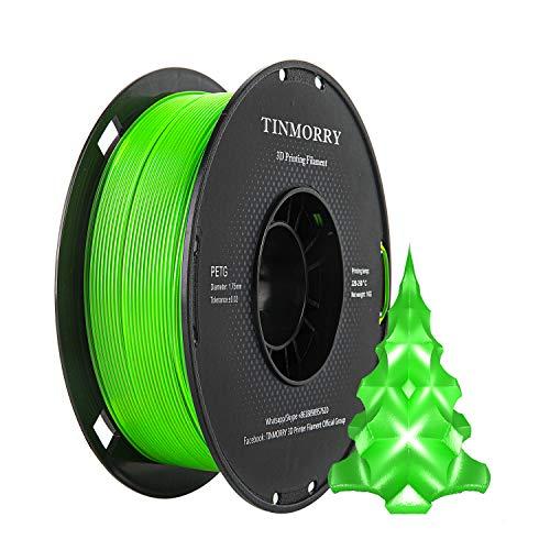 Filamento PETG 1.75mm 1kg, TINMORRY 3D filamento stampante PETG senza groviglio materiali di stampa 3D, 1 bobina, verde trasparente