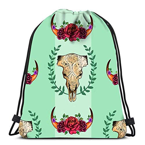 Hdadwy Drawstring Backpack Bags Cow Skull with Roses Sport Storage Polyester Bag for Gym