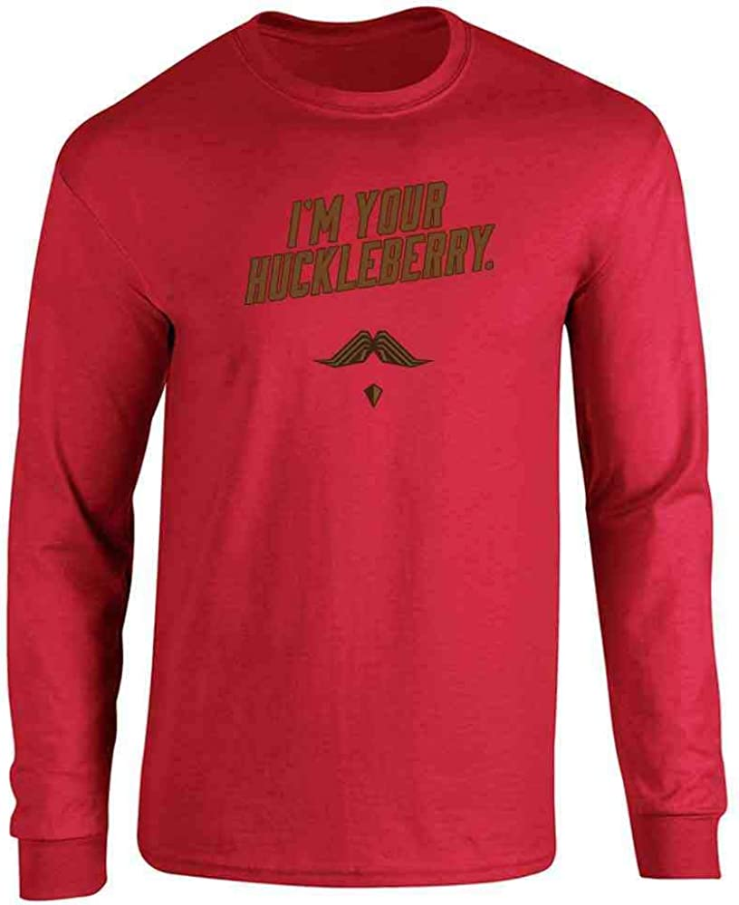 I'm Your Huckleberry Western Quote Funny Vintage Red 2XL Full Long Sleeve Tee T-Shirt