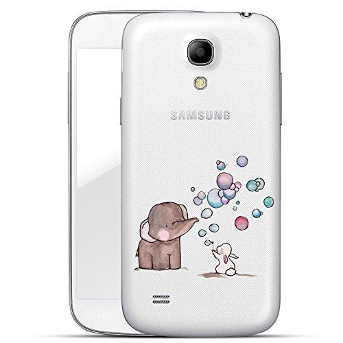 Finoo | Custodia rigida per Samsung Galaxy S4 con motivo | Custodia sottile antiurto di alta qualità | Premium Case per il tuo smartphone | Coniglietto con bolle di sapone