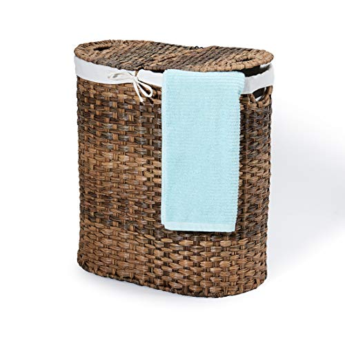 Seville Classics Handwoven Oval Double Lidded Removable Canvas Liner Laundry Sorter Hamper Bin, Mocha