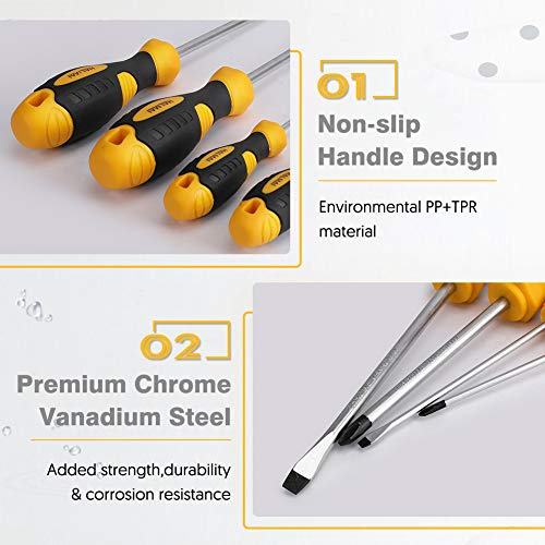 Screwdriver Set Magnetic, HALMAI 6 PCS Professional Magnetic Tips Kit with 3 Phillips and 3 Flat Head Tips Non-Slip Handle Slotted for Home Repair,Improvement,Craft and More