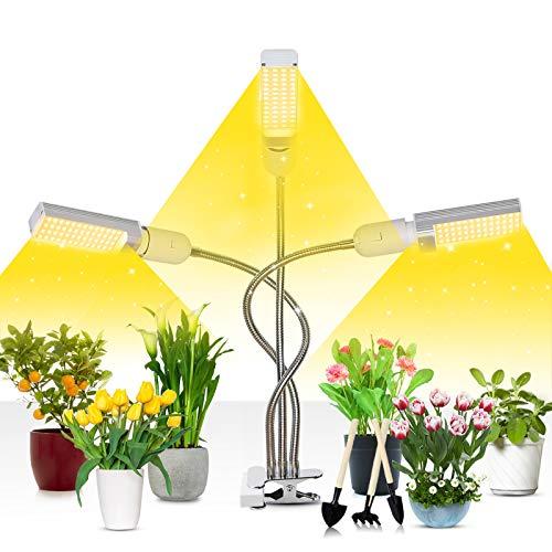 Niello Led Pflanzenlampe Vollspektrum, 72W Grow Lampe für Zimmerpflanzen, 156 LEDs Pflanzenlicht mit Timing Funktion, 3 Kopf led Grow Light für Sämlinge wachsende & blühende mit 3/6/12H Time