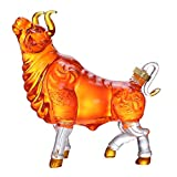 Charging Bull Liquor Decanter Made For Bourbon, Whiskey, Scotch, Rum, Or Tequila Personality Jug, Glass Wine Glass Set Home Decoration Jug Wine Separator Personality Bull Design (Size : 2500ml)