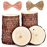 wood arts and crafts - 5ARTH Natural Wood Slices - 30 Pcs 2.7-3.1 inches Craft Unfinished Wood kit Predrilled with Hole Wooden Circles for Arts Wood Slices Christmas Ornaments DIY Crafts