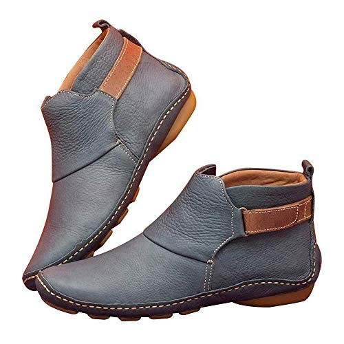Syfinee Ladies Women Casual Comfy Daily Soft PU Leather Booties Shoes Thick Warm Low Heel Shoes Womens Ankle Boots Round Toe Faux Leather Stacked Low