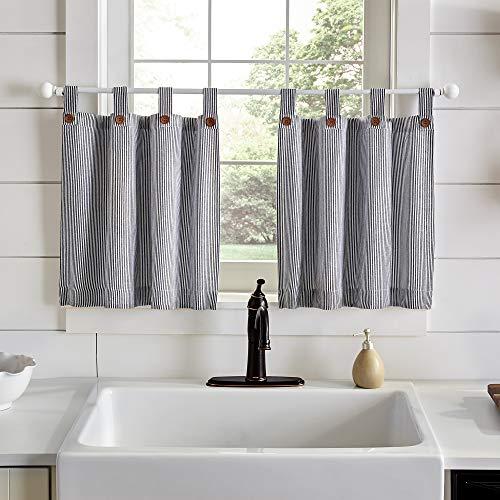 "Elrene Home Fashions Tucker Ticking Stripe Window Kitchen/Café and Bath Tier Set of 2, 30"" W x 36"" L, Black"