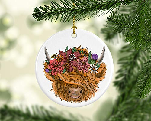 Highland Cow Ornament, Scottish Cow, Highland Cow Christmas Ornament Personalized with Name and Year 3' Ceramic Ornament