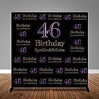 Sparkles & Stilettos ブラックフォトスタジオブース背景 Happy 46歳の誕生日パーティーバナー背景幕 MME 8x8フィート