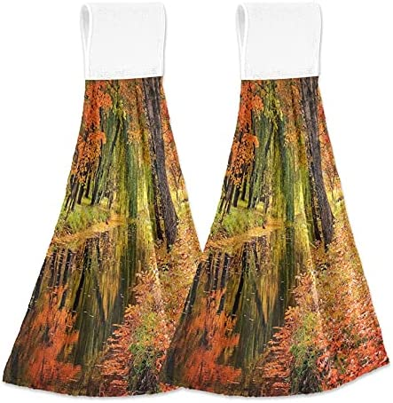 Multicolored Trees Leaves Hanging Kitchen Autumn Towels River Direct sale of manufacturer New York Mall La