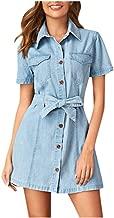 Women's Casual Short Sleeve Turndown Neck Denim Party Dresses Swing Dress (S-2XL)
