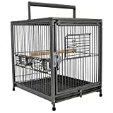 Pawhut Metal Parrot Cage Bird Carrier Travel Wooden Perch Cup Holder Handle Black