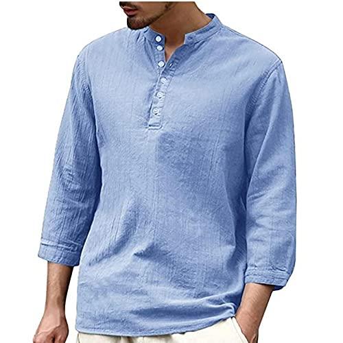 2021 Camisa Hombre otoño Algodón y lino Manga Larga Color sólido camiseta Moda Casual Suelto T-shirt Blusas camisas Camiseta Cuello en v suave básica Cómodo Primavera Verano camiseta Top