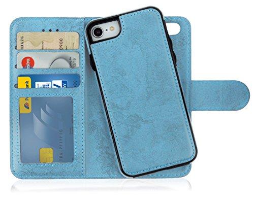 MyGadget Custodia Flip Cover 2in1 Magnetica per Apple iPhone 7/8 - Portafoglio Funzione Stand Porta Carte - Case Similpelle PU Removibile - Blu Chiaro