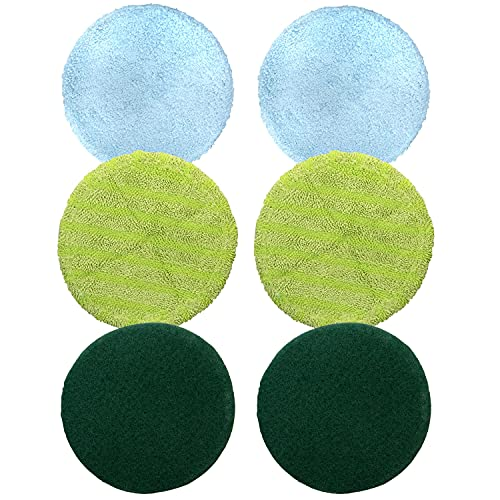 Original As Seen On TV Floor Police Replacement Mop Heads - 2 Microfiber Floor Mop Pads, 2 Scrubber Pads, and 2 Polishing Pads
