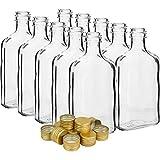 Glass 10 x Pocket Flask 200ml Bottles + 10 x Screw Cap