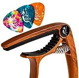 dennisbottero - capotasto wood, resistente adatto ai principianti, ideale per chitarra e ukulele con 3 plettri inclusi, nessun ronzio dei tasti, qualità garantita per un regalo perfetto