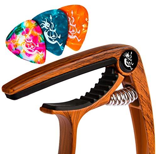 DennisBotteroMusic Capotasto Wood - il più resistente con design elegante - Ideale per Chitarra e Ukulele - 3 Plettri inclusi - Nessun ronzio dei tasti, Qualità Garantita per un Regalo Perfetto