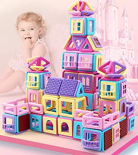 Magnetic Building Blocks, 62 pcs Kids Magnetics Construction Block Games, Magnet Tiles Early Educational & Development Toys for 3 4 5 6 7 Years Old Boys Girls Gifts