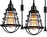 Industrial Plug In Pendant Light Vintage Hanging Cage Pendant Lighting E26 E27 Mini Pendant Light Edison Plug In Light Fixture On/Off Switch 2 Pack