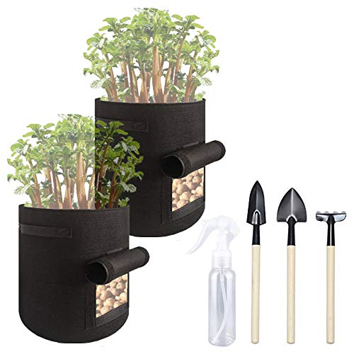 LeBolike Grow Bags 2PCS for Potato Fabric Breathable Plant Pot for Flower Vegetable with Handles and Window 1 Gallon (Included Watering Can & 3 Shovels)