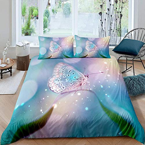 Meesovs Bedding 3-Piece Duvet Cover Set - with Pillowcases Fantasy colored insect butterflySuper King(260 X 230 cm) Hypoallergenic Ultra Soft Microfiber Breathable Duvet C+ 2 pillowcases (50 x 75 Cm)