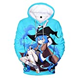 PLMNK mushoku Tensei Suéter con patrón de Anime de Dibujos Animados en 3D, suéter de Bolsillo de Manga Larga, Sudadera con Capucha Unisex, Camisa Deportiva Informal 3XL