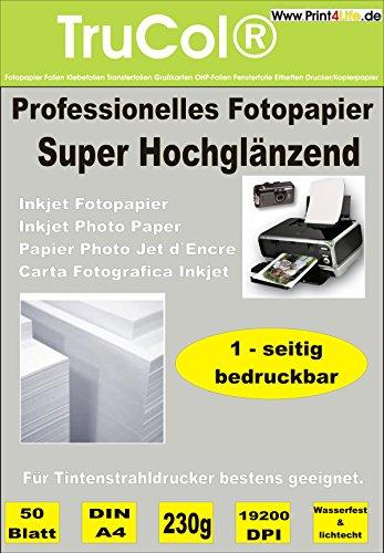 Papel fotográfico Premium A4 230g /m² de Alta Brillante de Alto Brillo Impermeable 100 Hojas de inyección de Tinta de inyección de Tinta