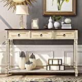 XINdream Sofa Console Table with Drawers, Solid Wood Entryway Table Narrow Long Table with Storage, Retro Couch Table Hallway Table for Entryway, Living Room (Beige)