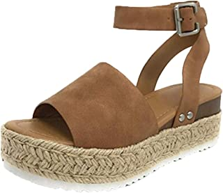 ONLYTOP_Shoes Athlefit Women's Platform Sandals Espadrille Wedge Ankle Strap Studded Open Toe Sandals