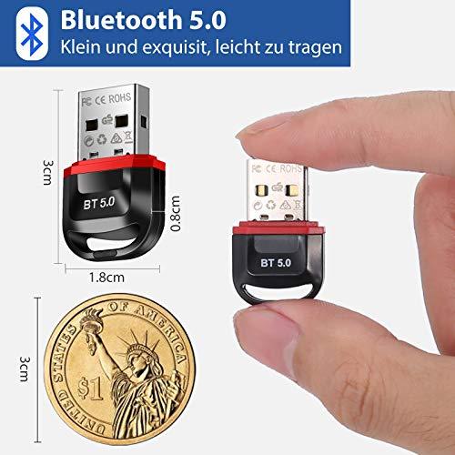 SoataSoa USB Bluetooth Adapter 5.0,Bluetooth Adapter PC,Bluetooth Stick,Bluetooth empfänger und Bluetooth Sender für Desktop, Laptop, Drucker, Headset, Lautsprecher, kompatibel mit Windows 7/8/8.1/10