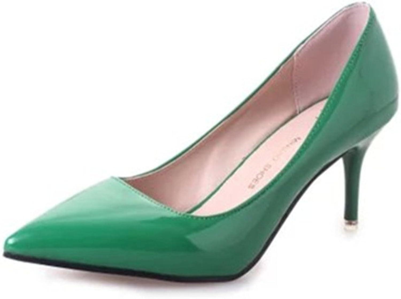 Huhuj Spring Heeled womens shoes Point light work shoes Elegant commuter shoe
