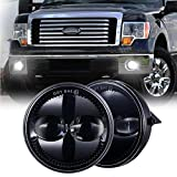 Z-OFFROAD 4.5' Round LED Fog Lights Lamps Replacement for Ford 2009-2014 F150 F-150 2008-2011 Ranger 2007-2014 Expedition Truck Front Bumper Driving Light Driver Passenger Side Black, 2pcs