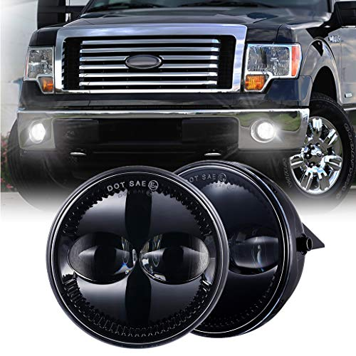 """Z-OFFROAD 4.5"""" Round LED Fog Lights Lamps Replacement for Ford 2011-2014 F150 F-150 2008-2011 Ranger 2007-2014 Expedition Truck Front Bumper Driving Light Driver Passenger Side Black, 2pcs"""